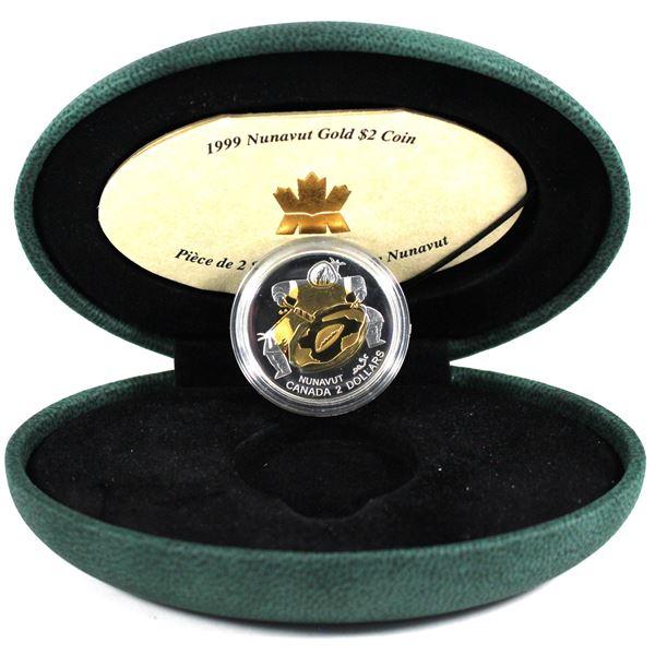1999 Canada $2 22K Nunavut Commemorative Gold Coin.