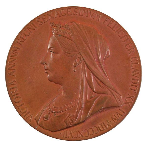 1837-1897 Queen Victoria Diamond Jubilee Commemorative Bronze Medal in Original Display Box. 56mm di