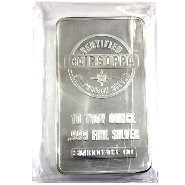 10oz Gairsoppa Shipwreck .9999 Fine Silver Bar in Sealed Plastic. (TAX Exempt)
