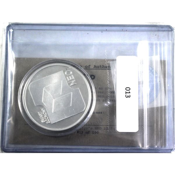 Very Scarce! 2017 Finite By Design 1oz NEO Cryptocurrency .999 Fine Silver Coin Encapsulated with CO