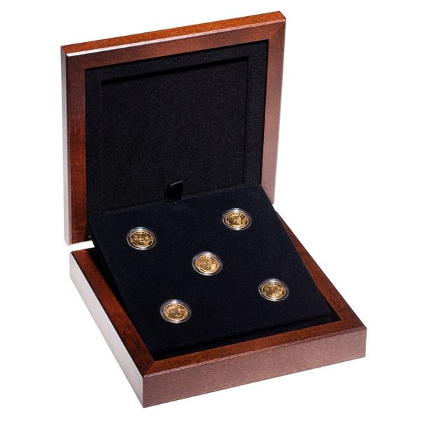 2013 $5 O Canada 5-coin Fine Gold Set in Deluxe Box. Each coin is 1/10th oz Pure Gold -0.50oz total!