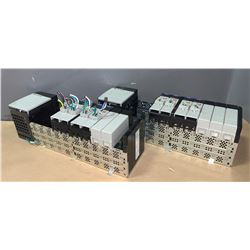 (2) - ALLEN-BRADLEY 1756-A10 10 SLOT CHASIS W/POWER SUPPLY 1756-PA75 & MODULES AS SHOWN IN THE PICS