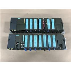 (2) SIEMENS CPU MODULE W/ POWER SUPPLY, MODULES AND RACK *SEE PICS*