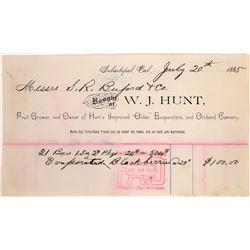 W.J. Hunt, Sebastopol, CA Billhead   [129865]