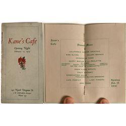 Kane's Cafe Opening Night Menu 1919  [128320]
