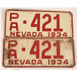 Nevada License Plates Matched Pair [108311]