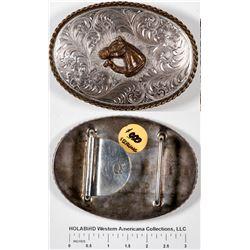 Large Sterling Oval Belt Buckle   [129522]
