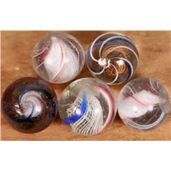 Solid core swirls (3), Latticino swirls (2)  [127830]