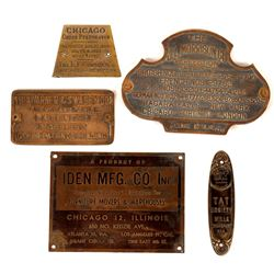 Brass Plaque Collection c1900 (5)  [131501]