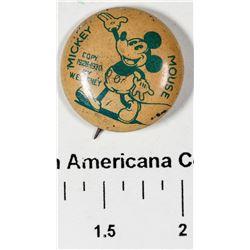 Original 1930 Mickey Mouse Pinback  [129514]