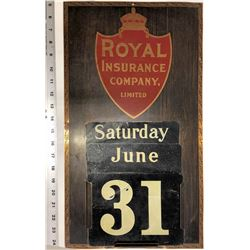 Royal Insurance Metal Sign With Removable Day Month Numbers  [131487]