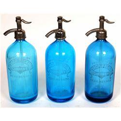Three Cobalt Seltzer Bottles  [131539]