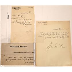 Three Montana Saloon Billheads: Geyser, Giltedge, and Great Falls  [123913]
