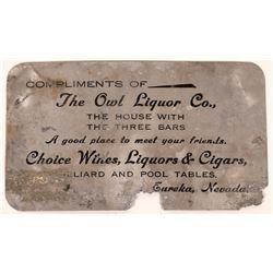 Owl Liquor Company Business Card Eureka Nevada  [128315]