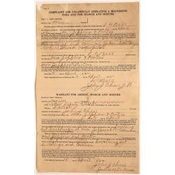 Moonshine Warrant for Arrest Search & Seizure  [131392]