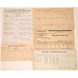 Five Mining Assay Certificates: California and one Nevada  [123851]