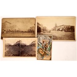 Harrison Avenue, Leadville. Three Different Early Photographic Views, c1880s, & Trade Card  [131072]