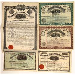 Honduras Mining Stocks and Bonds, 1880's (5)  [129506]
