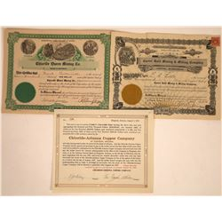 Chloride & Kingman Mining Stock Certificate Trio  [113840]