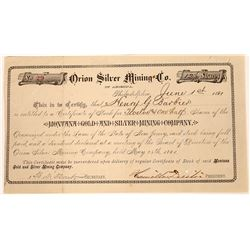 Orion Silver Mining Company of Arizona Stock Certificate  [129648]