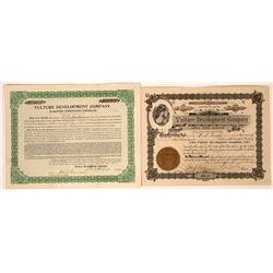 Vulture Development Company Stock Certificate Pair  [113947]