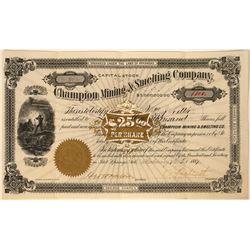 Champion Mining & Smelting Company Stock, Hot Springs, 1887  [128887]