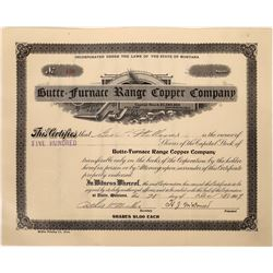 Butte = Furnace Range Copper Company Stock, Furnace Creek, Inyo County, California  [123990]