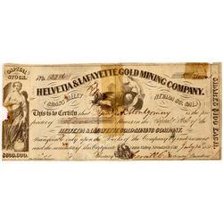 Helvetia & Lafayette Gold Mining Co. Stock Certificate  [129850]