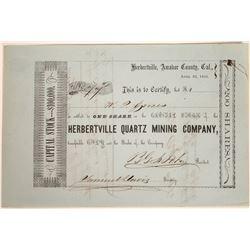 Herbertville Quartz Mining Company Stock Certificate  [113893]