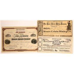 Plumas & Sierra Counties Mining Stock Certificate Trio  [113966]