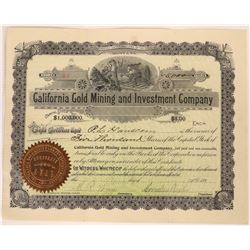 California Gold Mining & Investment Co. Stock Certificate  [129608]