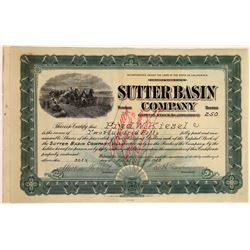 Sutter Basin Company Stock, Rare Issued, 1913  [129485]