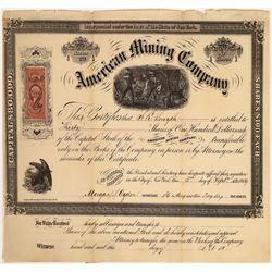 American Mining Company Stock, Boulder County, Colorado, 1869  [128825]