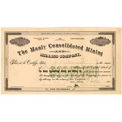 Manly Consolidated Mining & Milling Co. Stock Certificate  [129856]