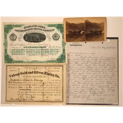 Colorado Stocks, Document & Stereoview, All from the 1800's  (4)  [128889]