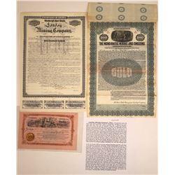 Three Colorado Mining Stocks and Bonds  [128787]