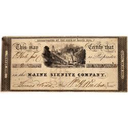Maine Sienite Company Mining Stock, Rare and Early, 1836  [129486]