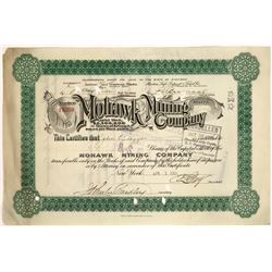 Mohawk Mining Co Stock, Rare Green Variety, Early Date, 1908  [129492]