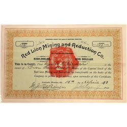 Red Lion Mining & Reduction Company Stock Certificate  [129581]