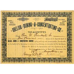 Obelisk Mining & Concentrating Co. Stock Certificate  [113859]