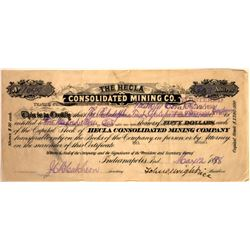 Hecla Consolidated Mining Company Stock Certificate  [129621]