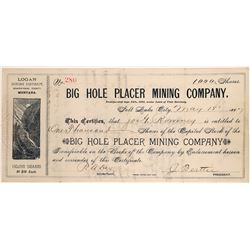 Big Hole Placer Mining Company Stock Certificate  [127170]