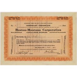 Boston-Montana Corp. Silver Mine Stock Cert. #1  [128958]