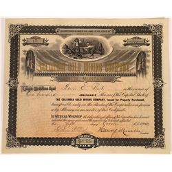 Columbia Gold Mining Company Stock Certificate  [127176]