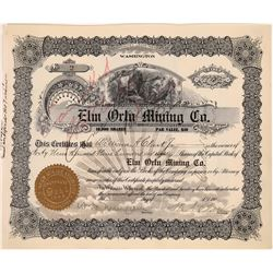 Elm Orlu Mining Company Stock signed by W. A. Clark, Butte, Montana  [123978]