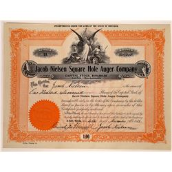 Jacob Nielsen Square Hole Auger Company Stock Certificate  [129647]