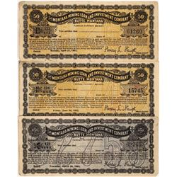 Montana Mining Loan and Investment Company $1.00 and two 50c Currency  [123989]