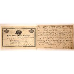 Two Different Mining Stocks Issued in Butte incl. Handwritten Stock  [127166]