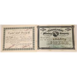 Two c1889 Butte City, Montana Stock Certificates  [123883]
