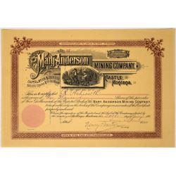 Rare Mary Anderson Mining Company Stock of Castle Montana, 1891  [123875]